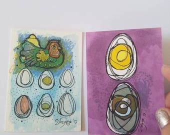 Big Family- SET of two original aceo drawings