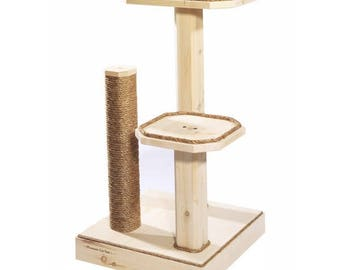 Natural Wood 36 Inch Two Level Cat Tree with Cedar Posts and Manila Rope