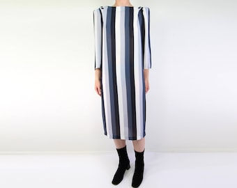 VINTAGE Striped Dress 1980s Black Grey Chiffon