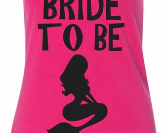 Bride to Be Mermaid Tank Top , Under The Sea Bachelorette Party , Hot Pink tank , Black Writing - small, medium, large , xl, xxl