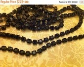 SALE Flea Market Style Brown Patina brass Rhinestone Opaque Jet black crystal cup chain 4.2mm ss18