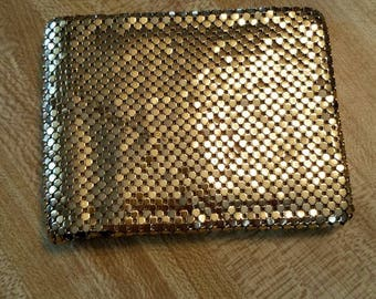 Vintage Gold Mesh Whiting and Davis Bifold Wallet 1950s Wedding Made in the USA