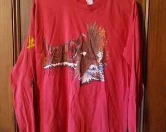 Vintage Healthknit Long Sleeved Red Souvenir Shirt Yosemite National Park Made in the USA Men's Size Large