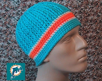 Beanie in Team Colors - Miami Dolphins - Aqua & Orange Colors - Unisex / Mens Size M/L - Hand Crocheted Soft Warm Acrylic Yarn - Nice Gift