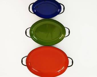 Vintage Enamel Pans / Spanish Sizzle Server Skillets / Nesting Paella Pans