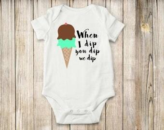 Ice cream, Onesie, bodysuit, shirt, baby, children, clothing, kids, dipping, tee, top