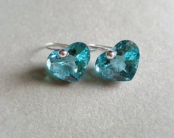 New! 14k Solid White Gold Very Rare Aqua Blue Heart Topaz Gemstone Solitaire Drop Earrings Minimal Gemstone Drop Earrings Gift For Her