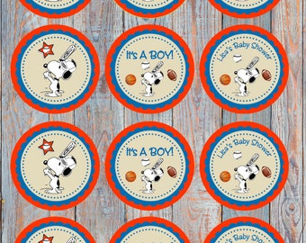 Snoopy Printable Cupcake Toppers or Tags
