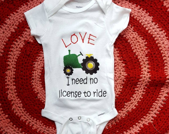 Widespread Panic Love Tractor Custom Baby Embroidered Onesie Unisex Bodysuit Boys or Girls Jam Band Baby Clothing