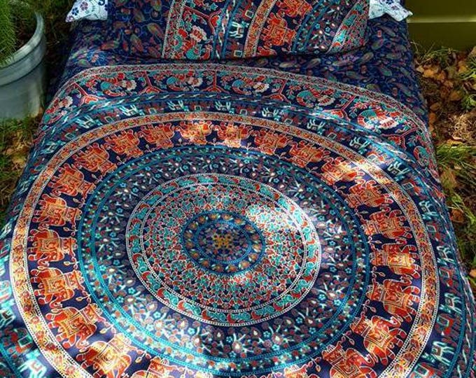 Franklin's Tower Mandala Tapestry Bedding Duvet Cover Flat Sheet Set with Matching Pillowcases Gypsy Dorm Room Bedding Beach Bedding Yoga