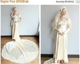 20% Off Sale // 1940s Wedding Gown // Beloved Silk Satin & Lace Wedding Gown with Veil // vintage 40s wedding gown