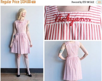20% Off Sale // 1940s pinafore Dress // Vickyann Candy Striper Pinafore // vintage 40s pinafore dress