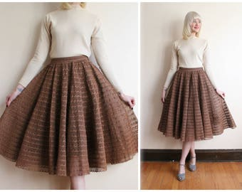 1950s Skirt // Tiered Lace Circle skirt // vintage 50s Lace Skirt