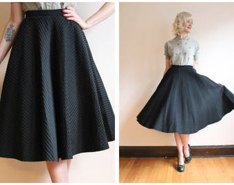 1950s Skirt // Striped Silk Circle Skirt // vintage 50s circle skirt