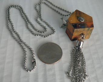 OOAK Birdhouse Necklace, Handmade, Multi-color, from Bluebird Creations, Item #2026