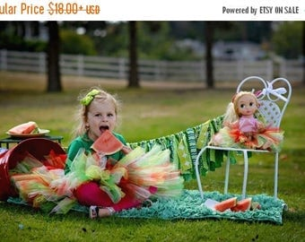 Summer sale Watermelon Tutu - SEWN tutu- Strawberry tutu - Holiday tutu - Summer Skirt - BBQ tutu - Mommy and doll tutu - red, green, pink t