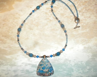 Blue And Tan Sea Sediment Jasper Necklace