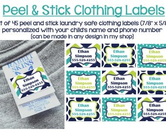 Clothing Tag Labels, Waterproof labels, Waterproof stickers, Peel and Stick Clothing Labels, Washer Dryer Safe Labels, Kids Clothing Labels