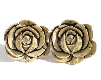 White Flower Clip On Earrings of Carved Celluloid - Vintage Costume Jewelry with Rhinestones