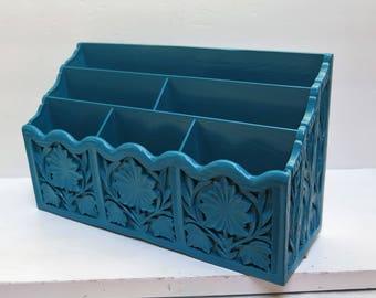 Dark Turquoise / Teal Blue  Letter Holder Desk Organizer