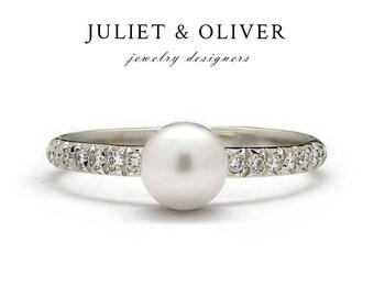 Pearl Diamond Engagement Ring – Diamond Pearl Ring - Pearl Ring Diamond Band -  Pearl Diamond Band - Pearl Ring Gold - Pearl Engagement Ring