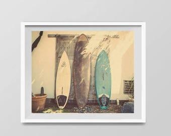 FLASH SALE til MIDNIGHT Surf Art, Vintage Surfboards, Surf Decor,  beach photos, , yellow, turquoise, sunset, retro, vintage surf home decor