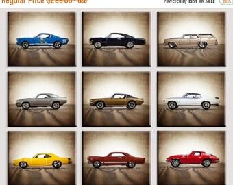 FLASH SALE til MIDNIGHT Vintage Muscle Cars Set of Nine Canvas Prints, Nursery Decor, Rustic Decor , Boys Wall Art, Car Prints, Boys Wall Ar
