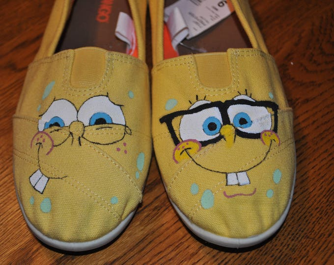 For Sale Hand painted sponge bob size 9 sneakers