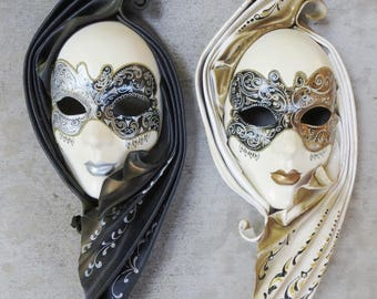 TWO Authentic Venetian Carnival Masquerade Face Wall Masks, Hand-made in Italy