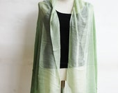 ON SALE 30% off, SC2, V Triple Green Cotton Scarf