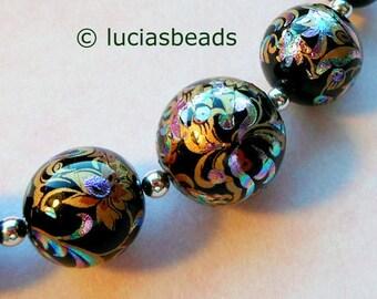 NEW  Arabesk on Black Focal Point Set Japanese Tensha Beads