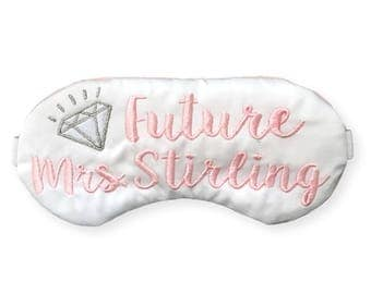 Custom Future Mrs. Sleep Mask surprise Engagement Gift proposal blindfold for the Bride to Be