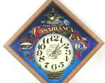 Vintage Casablanca Ceiling Fan Company Advertising Wall Clock, Victorian Stained Glass Look