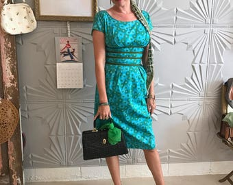 Vintage 1960's handmade turquoise/green daisy print wiggle dress