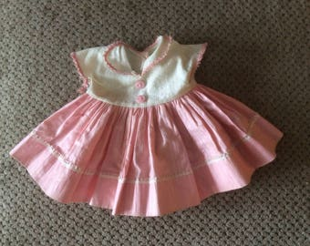 """American Character Tiny Tears pink and white dress for 16""""? Doll 1950s/1960s"""