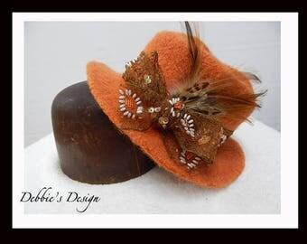 Women's Handmade Cloche Hat-570 Women's Felted Cloche Hat, Women's Cloche Hat, Women's Handmade Cloche, cloche felt hat, Downton abbey