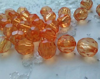 50 Pieces 10 MM  Orange  Transparent Round Faceted Loose Plastic Bead