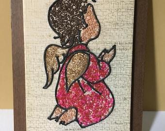 Mid-century Angel Pebble Art Vintage