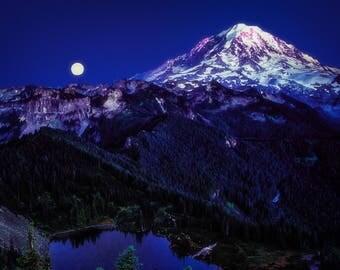 Canvas Art, Mountain, Full Moon, Blue, Sky Blue, Midnight Blue, fPOE, 12x16, 14x14, 16x20, 18x24, 20x30, 24x32, 30x30, 30x40, 40x60