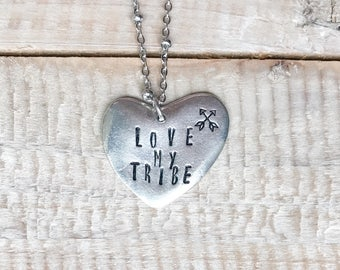 Love My Tribe Handstamped Heart Necklace