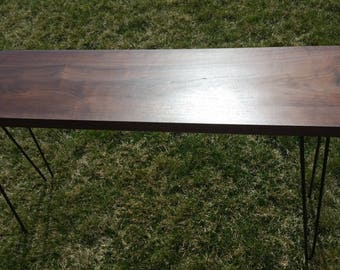 walnut console or  sofa table with hairpin legs
