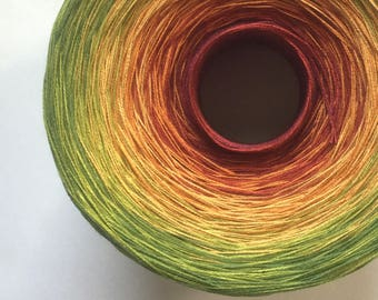 Color Change Gradient Yarn - spicy - Moca Cotton Yarn - 6 colors - 1050 yards - fingering weight yarn - pure cotton