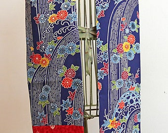 Waterfall and floral on navy, vintage Japanese silk kimono reversible scarf
