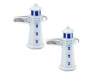 Traditional White Lighthouse Cufflinks n01393