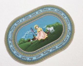 Miniature Mary Had a Little Lamb Dollhouse Nursery Rhyme Rug 1:12 Scale