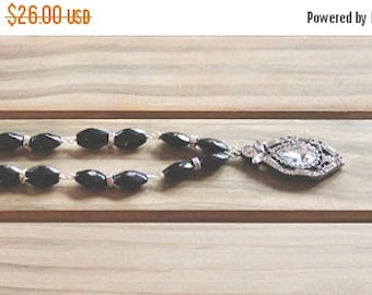 25% OFF SALE Black and white themed decorative rhinestoned pendant necklace with jet black beads and rhinestone accents, art deco pendant, S