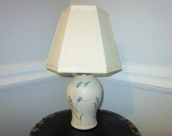 Vintage Pottery Lamp, Handmade Studio Lamp and Shade, Signed by Artist