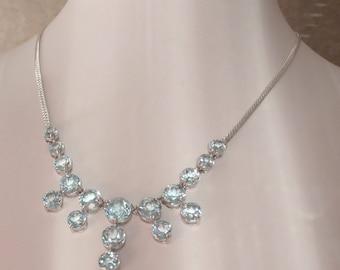 Blue Topaz Necklace Sterling Silver Bib Rhodium Plated Vintage V0998L