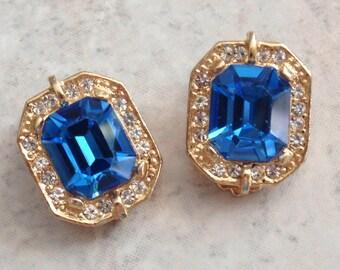 Blue Rhinestone Earrings Gold Tone Clips Square Vintage V0588