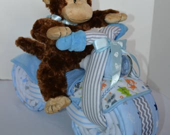 Diaper Cake Motorcycle Diaper Cake, Chevron Design, Baby Shower Gift, 2 Wheeler, Baby Boy Gift, Jungle Monkey Stuffed Animal, New Baby